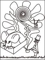 Coloriage de la chanson pour enfants La Souris Verte. Une version d'un de nos illustrateurs pour enfants.