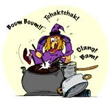 Une sorcière qui joue de la batterie. Une illustration gratuite offerte par Ane Pô 2 Banane, illustratrice pour enfants.
