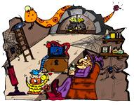 Dessin de sorcière, la caverne, une illustration de la chanson pour enfants Le Rock de la Sorcière. Un dessin de l'illustratrice pour enfants Ane po 2 banane.