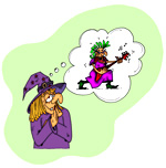 Dessin de sorcière, le rêve de la sorcière, être une star du rock and roll, une illustration de la chanson pour enfants Le Rock de la Sorcière. Un dessin de l'illustratrice pour enfants Ane po 2 banane.