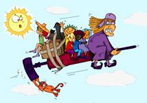 Dessin de sorcière, le vol de la sorcière sur son aspirateur, une illustration de la chanson pour enfants du mois d'octobre Le Rock de la Sorcière. Un dessin de l'illustratrice pour enfants Ane po 2 banane.