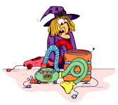 Une sorcière qui répare son aspirateur. Une illustration gratuite offerte par Ane Pô 2 Banane, illustratrice pour enfants.