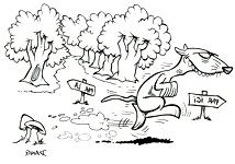 Coloriage de la chanson pour enfants Le Furet. Une version d'un de nos illustrateurs pour enfants.
