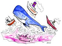 Illustration de la chanson pour enfants la Java du Cachalot. Une version de l'illustrateur pour enfants Dang.