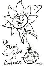 Découverte sur la lune de la fleur de toutes les couleurs. Coloriages du spectacle pour enfants Swing la Lune. Un coloriage de l'illustrateur pour enfants Dang.