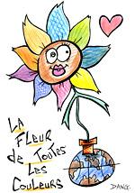 Découverte sur la lune de la fleur de toutes les couleurs. Illustrations du spectacle pour enfants Swing la Lune. Un dessin de l'illustrateur pour enfants Dang.