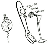 La brosse à dents chante. Coloriages du spectacle pour enfants Swing la Lune. Un coloriage de l'illustrateur enfants Dang.