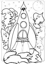 Coloriage de la chanson pour enfants Madame Fusée. Une version de l'illustratrice pour enfants Rydlova.