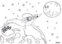 Coloriages de la chanson pour enfants Madame Fusée. Un coloriage de l'illustratrice pour enfants Rydlova.