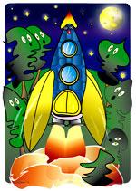 Illustration de la chanson pour enfants Madame Fusée. Une version de l'illustratrice pour enfants Rydlova.