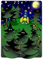 Dans cette forêt de sapins, une fusée est dressée prête au décollage. La lune et les étoiles brillent dans le ciel nous invitant au voyage dans l'espace. Une illustration gratuite offerte par Lucie Rydlova, illustratrice, peintre, sculpteur et infographiste. Une illustration inspirée de la chanson pour enfants de Stéphy Madame Fusée.