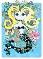 Si vous plongez tout au fond de la mer, vous rencontrerez cette sirène avec ses cheveux de serpents. Une illustration gratuite offerte par Lucie Rydlova, illustratrice, peintre, sculpteur et infographiste.