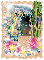 La maison d'une sirène dans une caverne au milieu des rochers, des fleurs, des algues et des coquillages. Une illustration gratuite offerte par Lucie Rydlova, illustratrice, peintre, sculpteur et infographiste.