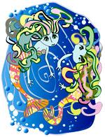 Deux sirènes dansent au milieu des bulles dans les profondeurs abyssales. Une illustration gratuite offerte par Lucie Rydlova, illustratrice, peintre, sculpteur et infographiste.