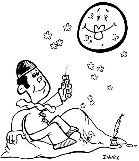 Coloriages chanson pour enfants au clair de la lune - Dessin de pierrot ...