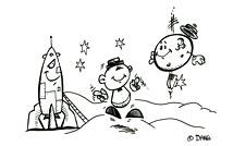 La fusée et la lune. Coloriages du spectacle pour enfants Swing la Lune. Un dessin de l'illustrateur pour enfants Dang.
