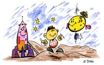 La fusée et la lune. Illustrations du spectacle pour enfants Swing la Lune. Un dessin de l'illustrateur pour enfants Dang.