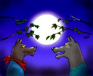 Coloriage de la chanson pour enfants La Valse des loups. Un version de l'illustrateur pour enfants Well