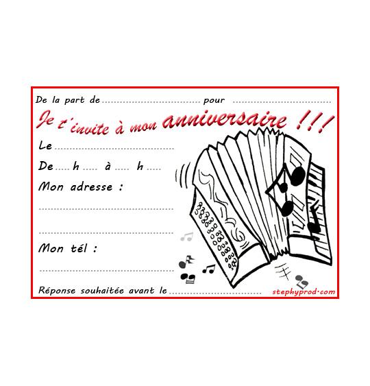 Coloriage pour enfants. Coloriage carte anniversaire pour enfant, l'accordéon, thème Instruments de musique