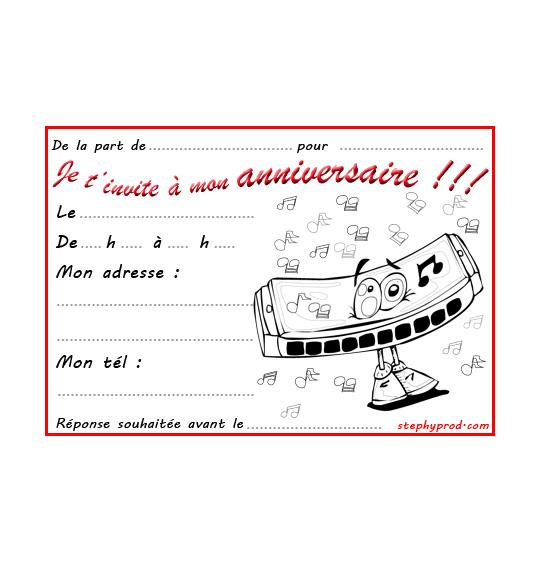 Coloriage Carte anniversaire pour enfant, un harmonica
