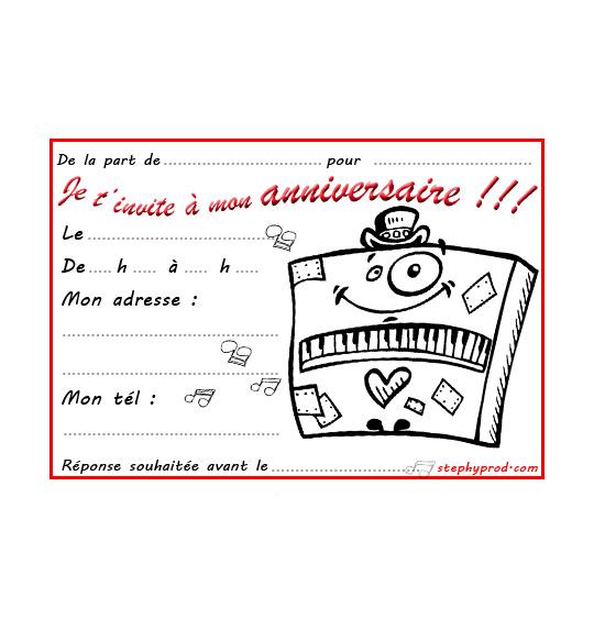 Coloriage Carte anniversaire pour enfant, un piano un peu fou
