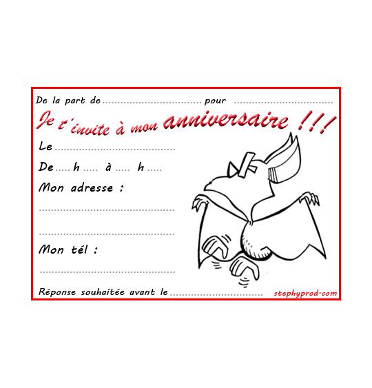 Coloriage pour enfants. Coloriage carte anniversaire pour enfant, une chauve-souris qui danse, catégorie Carton invitation anniversaire animaux