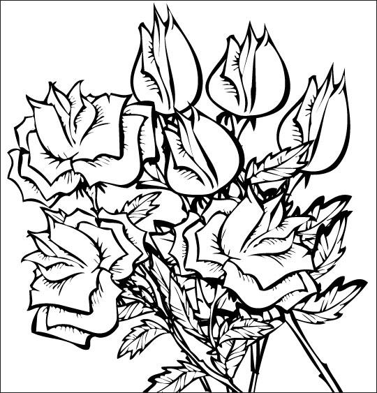 Coloriage pour enfants. Coloriage À la Claire Fontaine, des roses en bouquet, thème Fête de la Saint Valentin