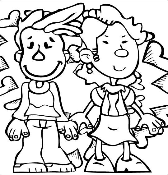 Coloriage pour enfants. Coloriage À la Claire Fontaine, deux amoureux nagent dans le bonheur, thème Coeur