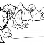 Coloriage Chanson À la Claire Fontaine, la fontaine dans la forêt
