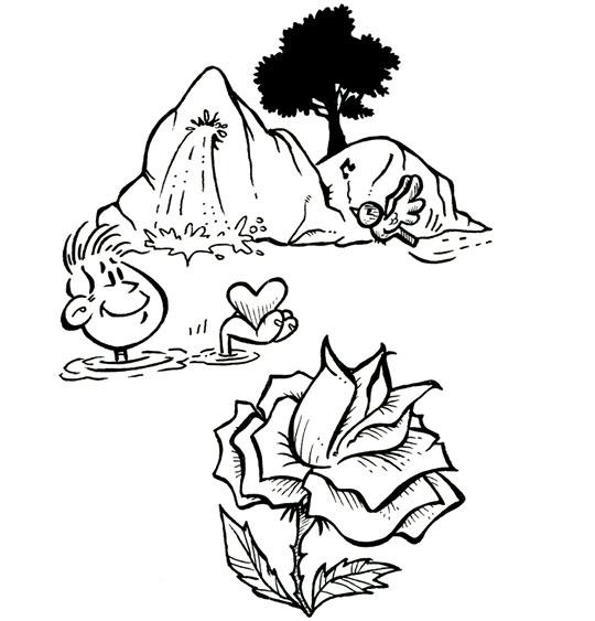 Coloriage pour enfants. Coloriage À la Claire Fontaine, la rose, catégorie Chanson pour enfants À la Claire Fontaine