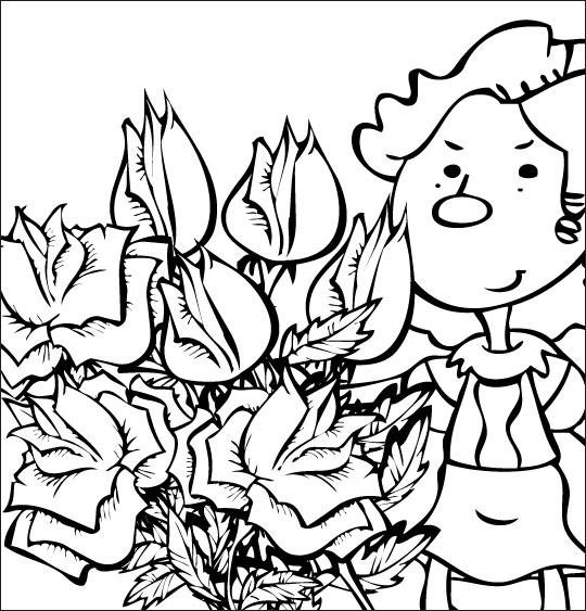 Coloriage pour enfants. Coloriage À la Claire Fontaine, le bouquet de roses, thème Fleurs