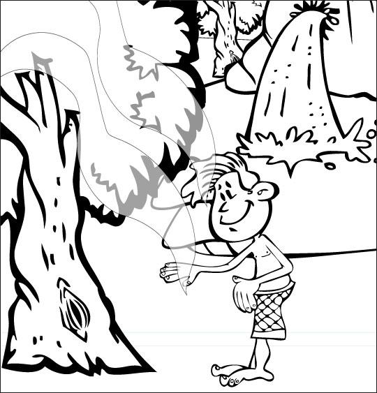 Coloriage pour enfants. Coloriage À la Claire Fontaine, sous les feuilles d'un chêne, thème Vent
