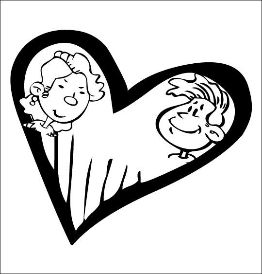 Coloriage pour enfants. Coloriage À la Claire Fontaine, un coeur et deux amoureux, catégorie Chanson pour enfants À la Claire Fontaine