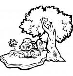 Coloriage Chanson À la Claire Fontaine, un petit bain dans la fontaine