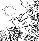 Coloriage Chanson À la Volette, c'est un petit oiseau qui prit sa volée