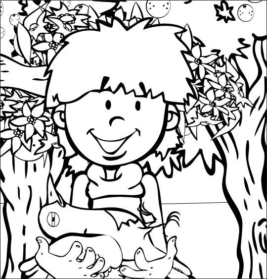 Coloriage Chanson À la Volette, l'oiseau blessé dans les bras du petit garçon