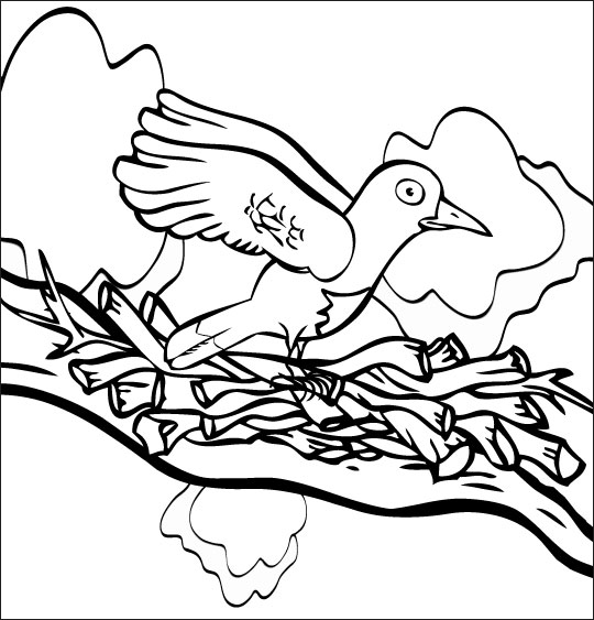 Coloriage pour enfants. Coloriage chanson À la Volette, l'oiseau se pose sur la branche, thème Oiseaux