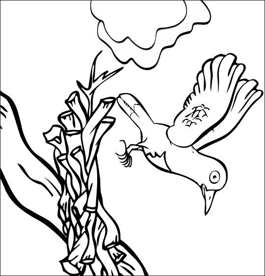 Coloriage pour enfants. Coloriage chanson À la Volette, l'oiseau tombe de la branche, thème Arbres