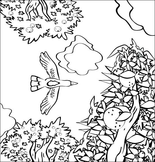 Coloriage pour enfants. Coloriage chanson À la Volette, l'oiseau vole en rasant les orangers, thème Arbres