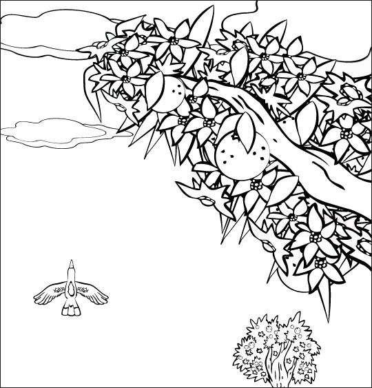Coloriage pour enfants. Coloriage chanson À la Volette, l'oiseau vole haut dans le ciel, thème Oiseaux
