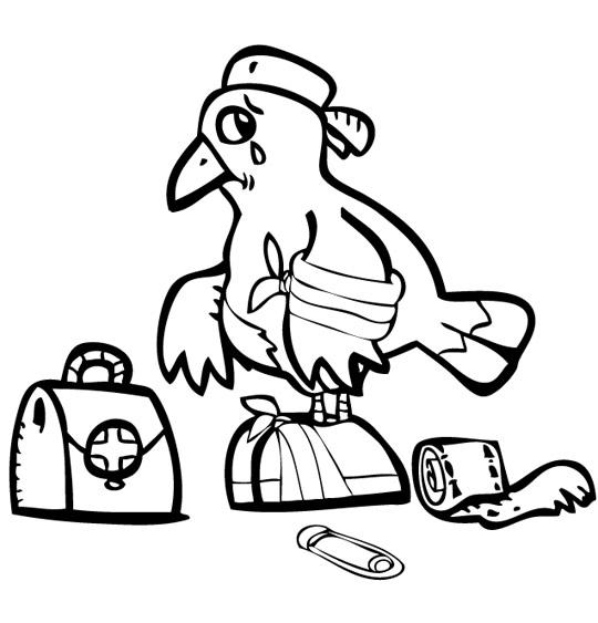 Coloriage pour enfants. Coloriage À la Volette, un oiseau blessé, catégorie Chanson pour enfants À la Volette