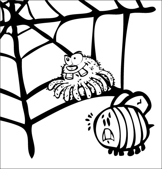 Coloriage pour enfants. Coloriage chanson L'araignée, l'araignée et le frelon dans la toile, thème Araignée