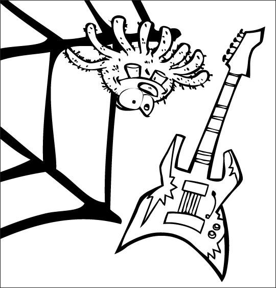 Coloriage pour enfants. Coloriage chanson L'araignée, l'araignée et la guitare électrique, thème Toile