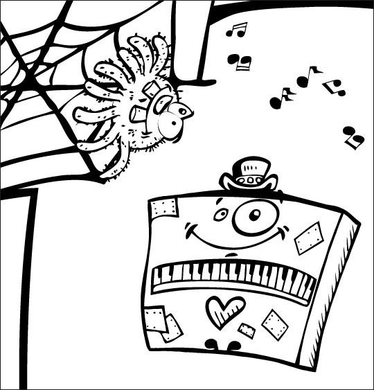 Coloriage pour enfants. Coloriage chanson L'araignée, l'araignée et le piano, catégorie Chanson pour enfants L'araignée