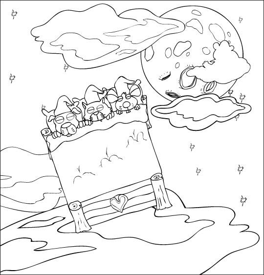Coloriage pour enfants. Coloriage Au Clair de la Lune, les lutins dorment et volent vers la lune, catégorie Chanson pour enfants Au Clair de la Lune