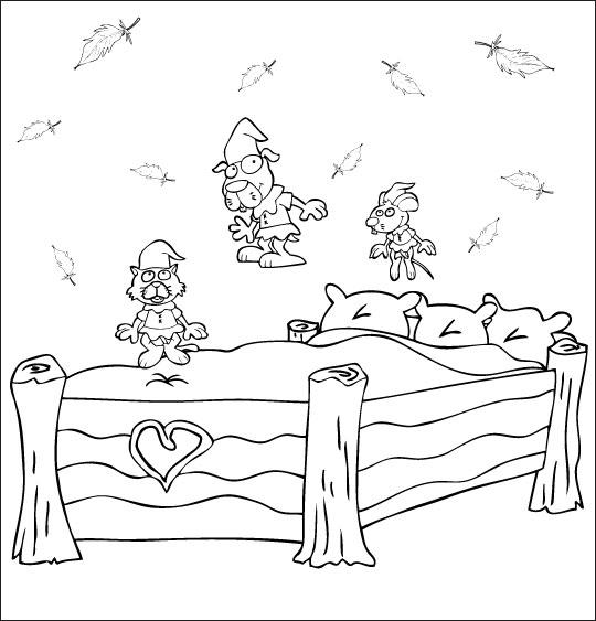 Coloriage pour enfants. Coloriage Au Clair de la Lune, les trois lutins sautent sur le lit, thème Lutin
