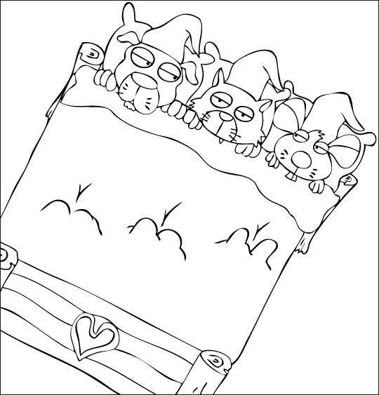 Coloriage pour enfants. Coloriage Au Clair de la Lune, les trois lutins vont s'endormir, thème Chien