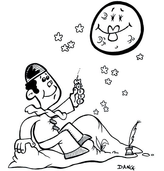 Coloriage pour enfants. Coloriage Au Clair de la Lune, Pierrot et la lune, catégorie Comptine Au clair de la lune