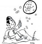 Coloriage Chanson Au Clair de la Lune, Pierrot et la lune