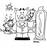 Coloriage Chanson Bébé cochon, bébé cochon devant la glace